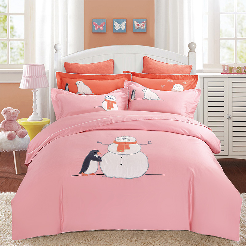 Pink Snowman embroidery bedding sets duvet covers cover Egyptian cotton bedspreads queen king size bed sheetsPink Snowman embroidery bedding sets duvet covers cover Egyptian cotton bedspreads queen king size bed sheets