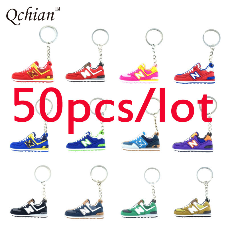 50pcs New Balanceer 574 Keychain Cute Women Sneaker Shoes Key Chains Ring Holder Chaveiro llaveros porte clef sleutelhanger