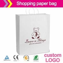 White craft paper bag custom made 100% Recycled Kraft Jewelry Shopping Bags(China)