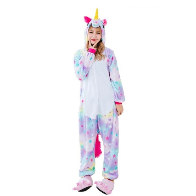 955b00767 Adults Animal Pajamas Sets Cartoon Sleepwear Cosplay Zipper Women Men  Winter Unisex Flannel Panda Unicorn