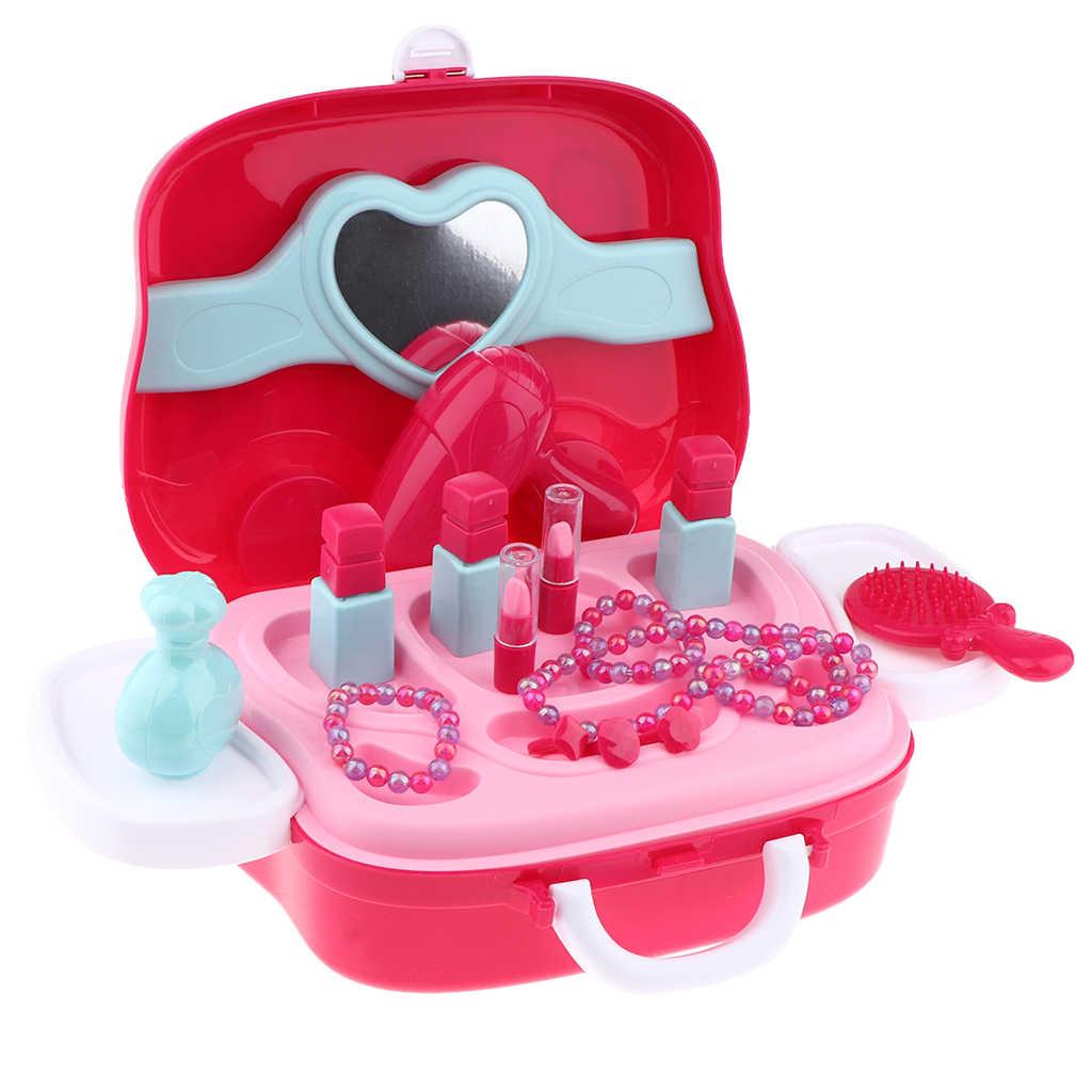 Стильный чехол для макияжа Косметические игрушки-дети красота игрушечный набор косметики-портативный кейс для косметики с зеркалом-игровой дом игрушка