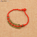 Chinese Traditional Feng Shui Red String Bracelet Wealth Lucky Copper Coins Charm Pendant