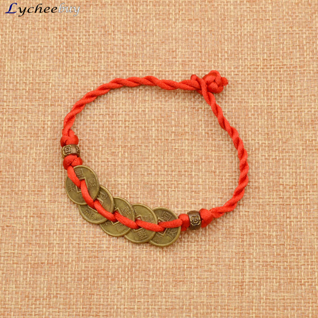 Chinese traditional feng shui red string bracelet wealth lucky chinese traditional feng shui red string bracelet wealth lucky copper coins charm pendant aloadofball Choice Image