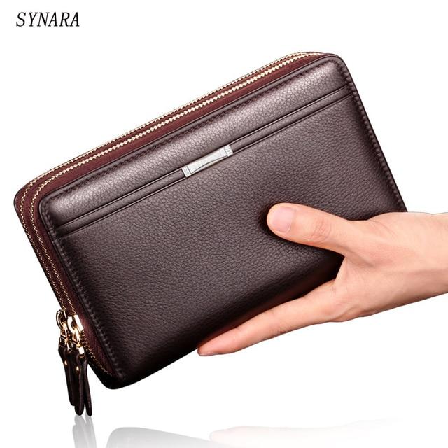 2016 New Split  Leather Clutch Wallet Leather Men Clutch Wallets Double Zipper Male Purse Long Wallet Man's Clutch