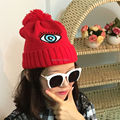 Brand New Fashion Hip Hop Beanies and Skullies Cap With Big Eyes Embroidery Women Men Winter Pompoms Knitted Beanie Cap Hat