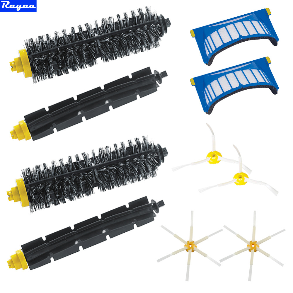 10Pcs High Quality 2 Bristle & Flexible Beater & 4 Armed Brush & 2 Aero Vac Filter for  iRobot Roomba 600 Series 620 630 650 660 aero vac filter bristle brush flexible beater brush 3 armed side brush tool for irobot roomba 600 series 620 630 650 660