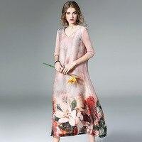 Лето качество оригинальный Дизайн платье Для женщин v образным вырезом Половина рукава принт классический китайский Стиль полный Длина шел