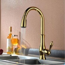 Gold Kitchen Faucet Single Handle Cold&Hot Water Tap Brass Deck Mounted pull out shower head kitchen faucet
