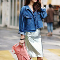 Осень новинка женская куртка, Старинные белыми свободно длинными рукавами джинсовый жакет джинсовая куртка джинсовой пальто бесплатная доставка Q03