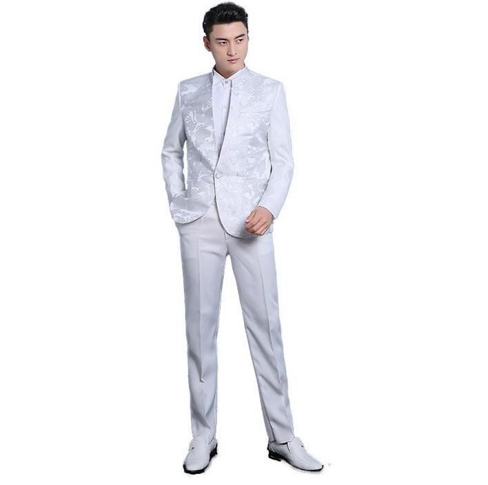 2b21380ec Blanco negro paillette trajes set traje etapa coreana Delgado masculino  hombres lentejuelas vestido formal ropa cantante masculino chaqueta +  pantalón en ...