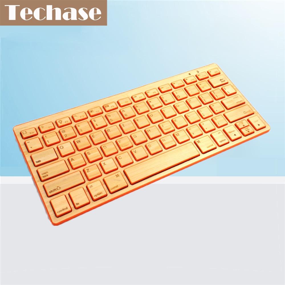 Techase Bluetooth-toetsenbord Bamboo Wireless Mini Teclado Slim - Computerrandapparatuur