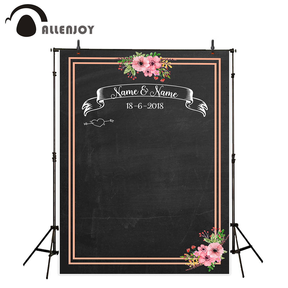 Allenjoy backdrop for photographic studio Chalkboard flowers romantic wedding customize background original design photocall