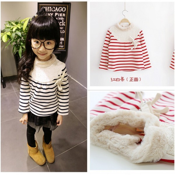 Free Shipping, Navy blue, Red&White Striped Girl's Faux Fur Turtleneck T Shirt Lace Patching Kids Sweater With Rabbit Brooch