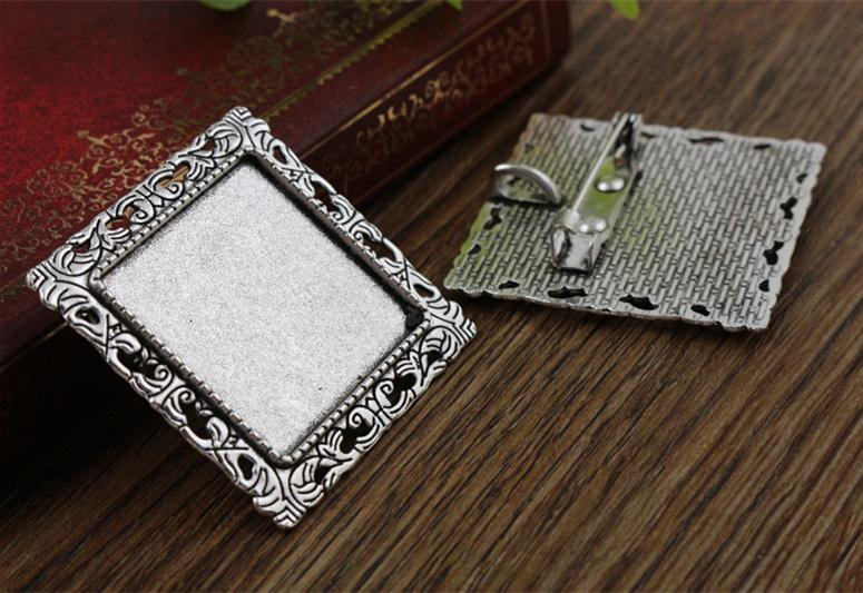 New Fashion  2pcs 25mm Inner Size Antique Silver Brooch Square Cabochon Base Setting (A7-26)New Fashion  2pcs 25mm Inner Size Antique Silver Brooch Square Cabochon Base Setting (A7-26)