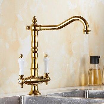 Kitchen sink faucet Mixer Cold And Hot Double Handle Swivel Spout Gold/Black/Chrome/Antique Kitchen Water Sink Mixer Tap Faucet