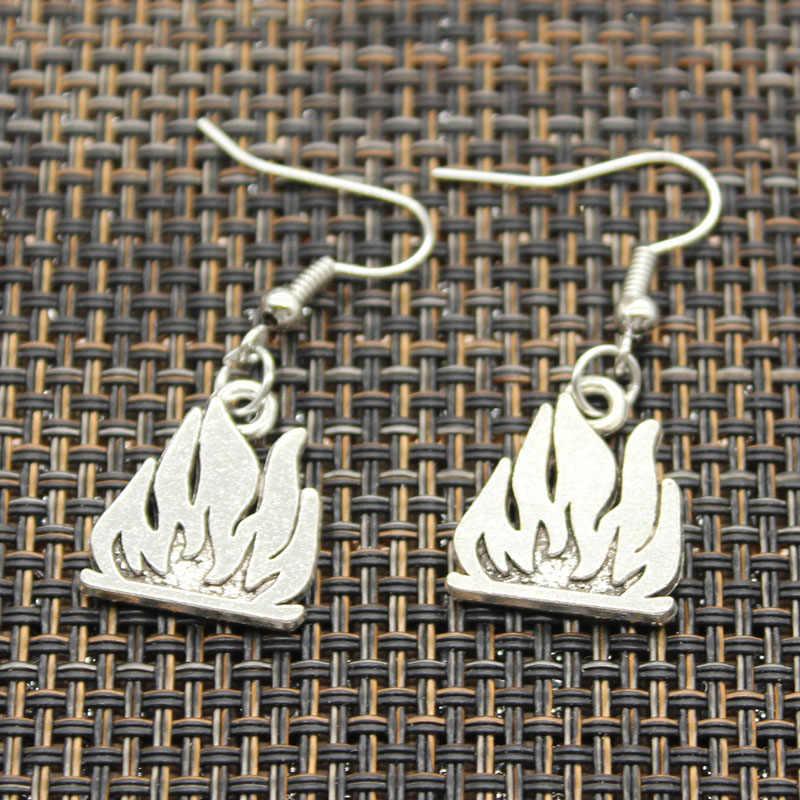 アンティークシルバー色消火器消防士火災炎チャームドロップイヤリング、ブラブライヤリング女性のための