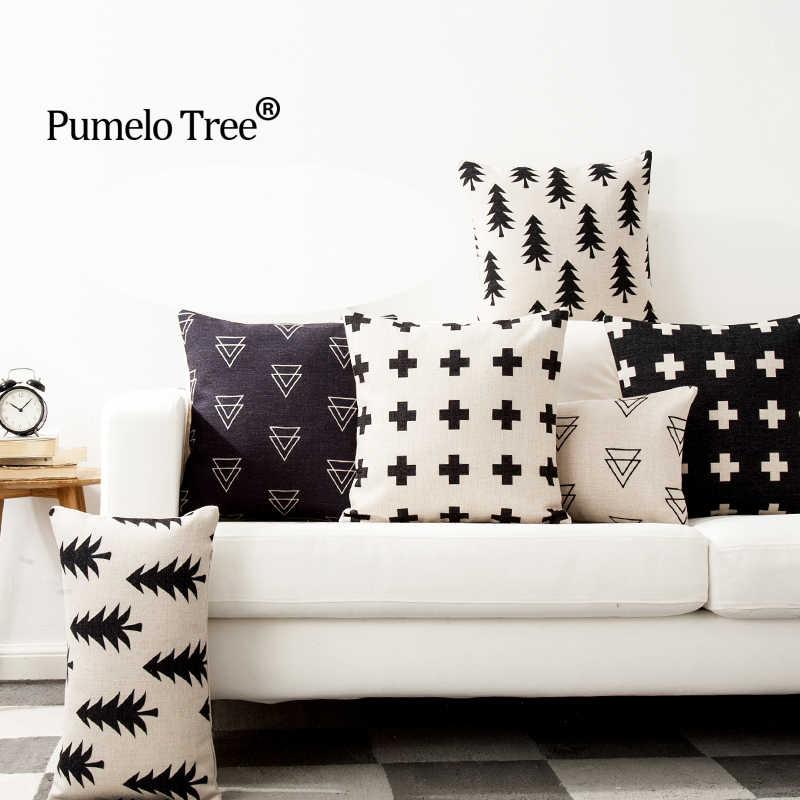 Чехол для подушки с Северными мотивами Черный Белый Геометрический дом подушки для дивана автокресло скандинавский Декор домашний декор Capa De Almofada