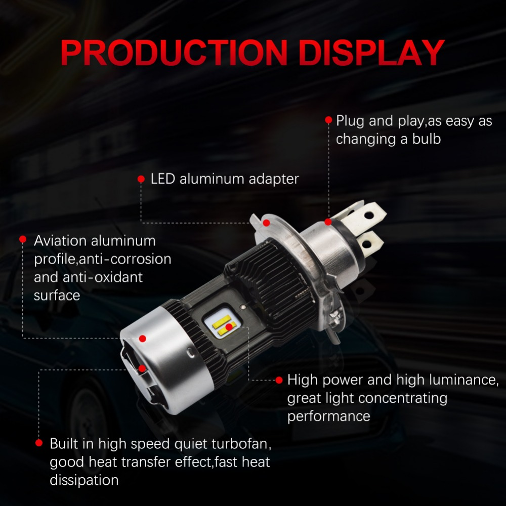 Image 2 - Safego 1pcs H4 LED Motorcycle Headlight Bulbs Hi Lo 3000LM 6000K 30W Led Moto Motorbike Headlamp Lighting Electric Car Lights