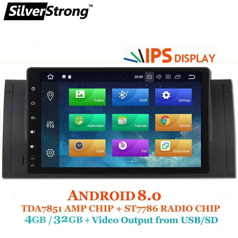 SilverStrong Android8.0 IPS 4 gb + 32 gb 1DIN DVD Dell'automobile di trasporto Per BMW E39 X5 E53 M5 Android Autoradio con 2g + 16g opzione