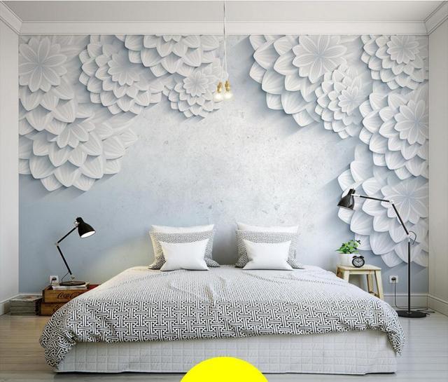 Aangepaste moderne minimalistische witte 3D bloem foto ...