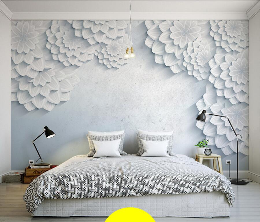 Custom modern minimalist white 3d flower photo mural for Contemporary wall mural