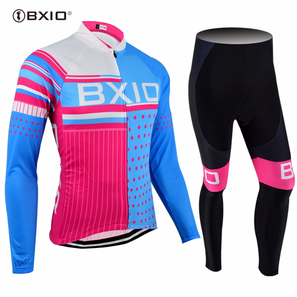 BXIO Not Winter Type Long Mesh Breathable Cycling Clothing 3D Blue Gel Pad Ropa Ciclismo Full