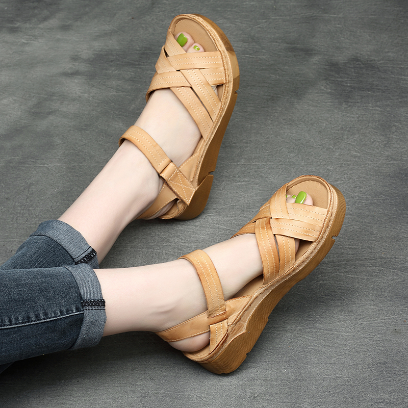 Tyawkiho Genuine Leather Women Sandals Soft Leather Low Heels Summer Shoes Casual Beach Sandals Handmade Women Leather Shoe 6027 classic leather sandals classic leather sandals women sandals summer sandals