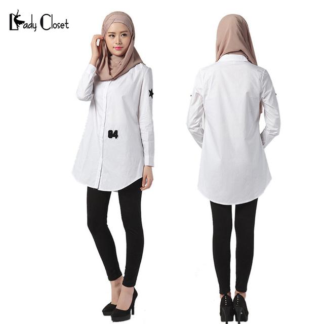 Mujeres musulmanas abaya islámico larga camisetas Mujer tops camisa blusas camisas faldas largas para mujer musulmana Blanco musulmanas vestidos