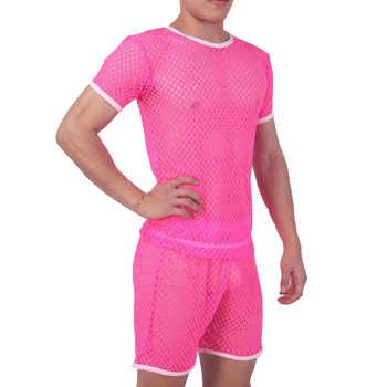 Pajamas men pijama hombre sexy sleepwear men underwear honeycomb mesh set breathable pyjama homme home costumes bielizna nocna