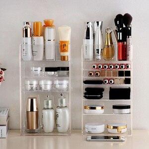 Image 3 - Nowy przezroczysty akrylowy organizator na przybory do makijażu lakier do paznokci szminka kosmetyczny uchwyt na próbki Makeup Brush Make Up Storage Organizer Box półka
