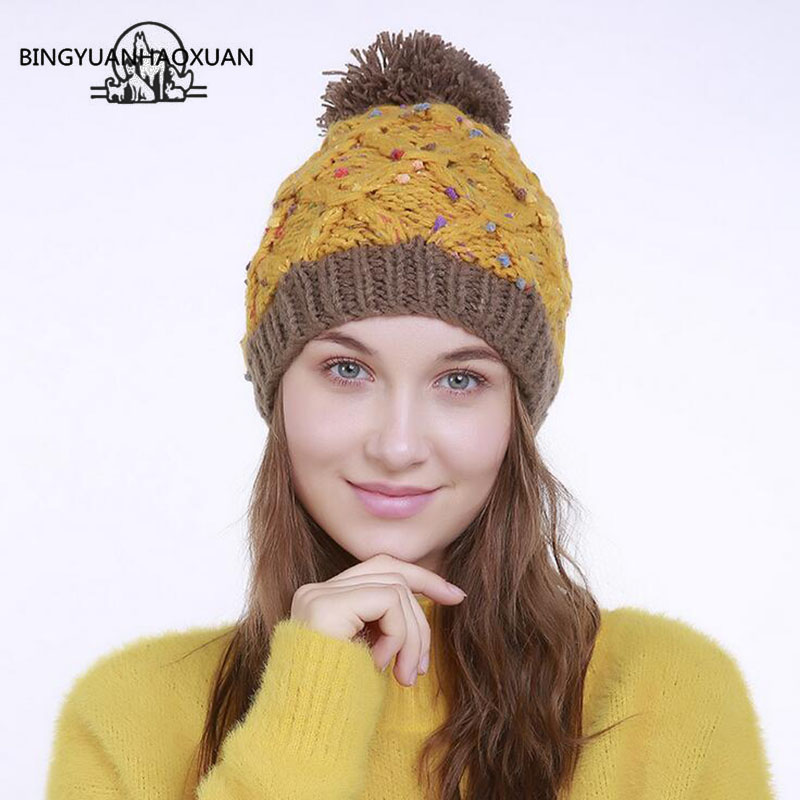 BINGYUANHAOXUAN Fashion Hat For Women Hot Winter Cap Knitted Hat Striped Color Point Wool Hat Female the lowest price free shipping fashion hot women winter hat knitted hat winter hat knitted women s