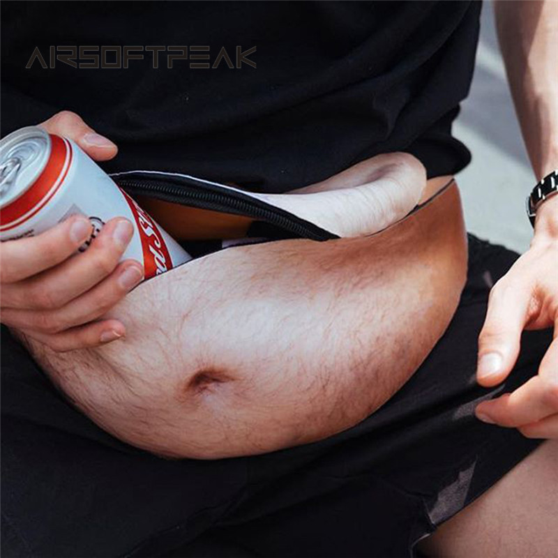 AIRSOFTPEAK Men Women Anti-harassment Funny Flesh Color Fat Beer Belly Pocket Waist Case For Waist Storage Purse For Outdoor Use