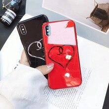 Новый костюм с сердечками из закаленного стекла для мобильного телефона чехол для iPhone X/xsmax/xr/6/7/8 plus падение Защитная крышка
