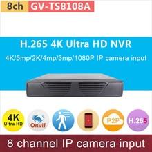 H.265# 4K Ultra HD ONVIF NVR 8ch DVR 8 channel digital video recorder 5mp/2K/4mp/3mp/1080P network cctv system GANVIS GV-TS8108A
