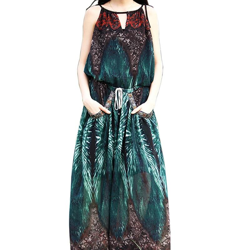 Bohemian Chiffon Print long dress women Vintage O Neck Spaghetti Strap Pockets dress Summer Loose Sleeveless