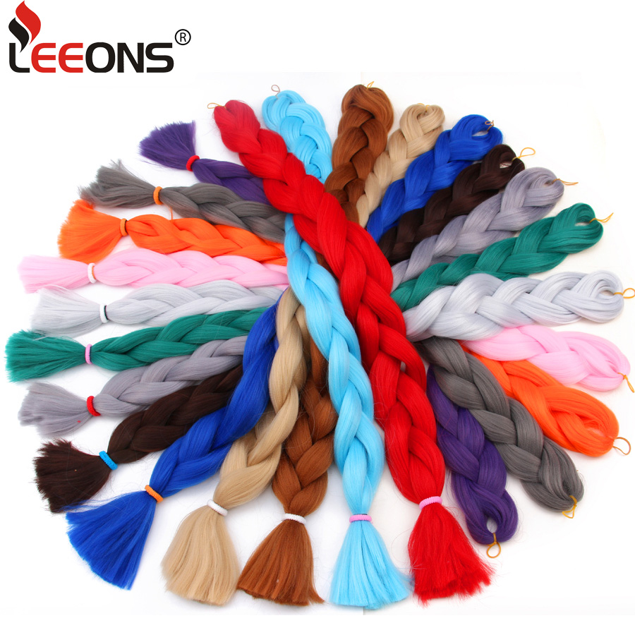 Leeons 82 inch Long Expression braiding Hair kanekalon Jumbo Braid Hair Pure Color Blue Purple Pink Grey Hair For Braids