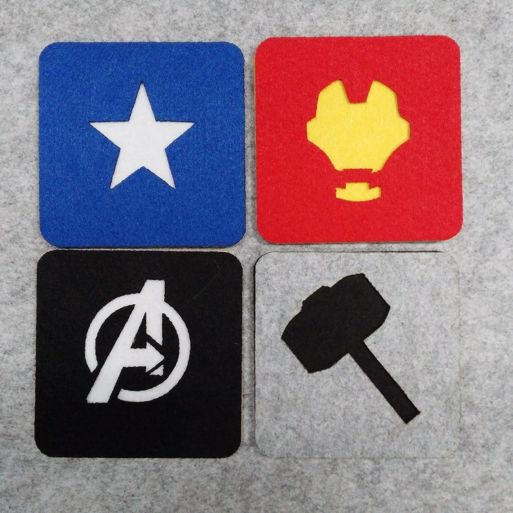 Freeshipping 12 pcs Avengers Superhero Square Felt Coaster Ironman Captain Amrican Thor Cup mats Cartoon Pad supply fabric