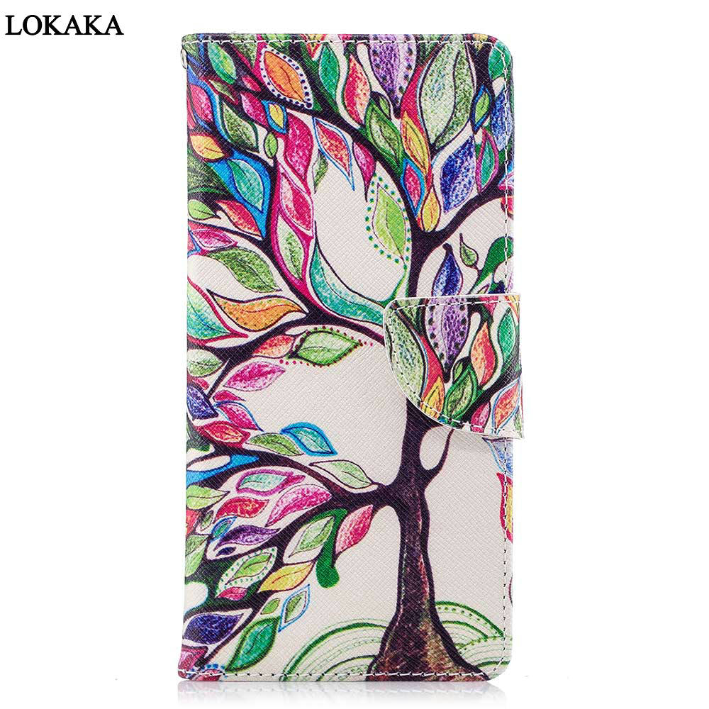 LOKAKA Case For Sony Xperia XZ2 Cover Soft TPU PU Leather Wallet Flip Magnetic Stand Pho ...