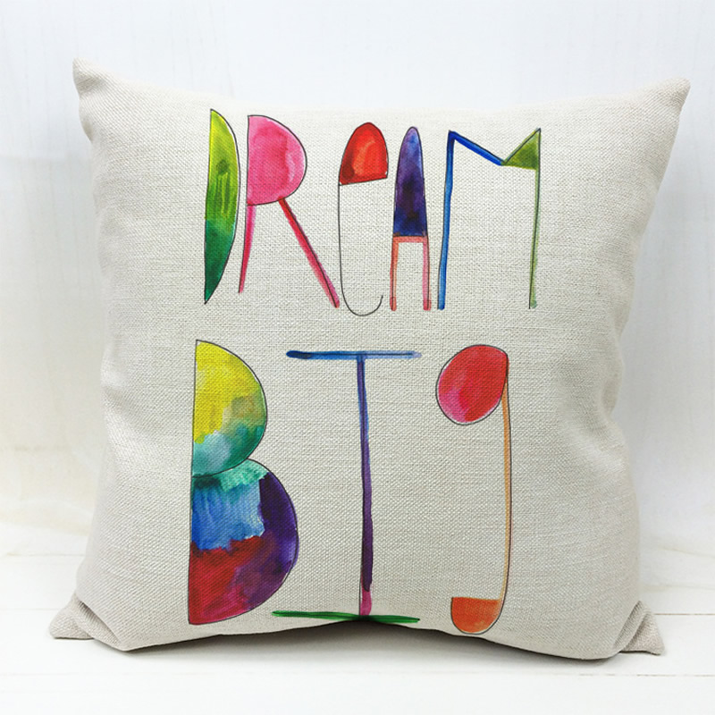 Big Dream Cushion Cover Sofa Throw Pillow Case Creative Colorful Square Pillowcase Car Seat Home Decorative F