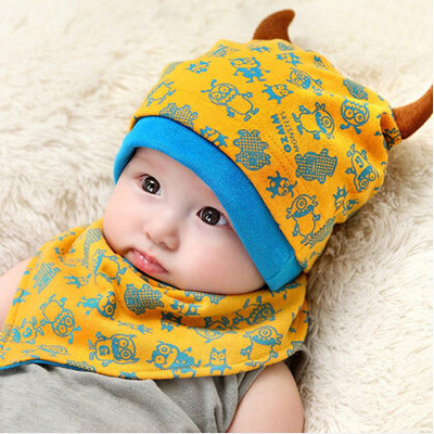 406a1ecb80d Αξεσουάρ για κορίτσια Baby Beanie Cap Bandana Bib Set for 3 to 24 Months  Boy Girl Kids Toddler Knit Caps Monsters Design Head Scarf Hat