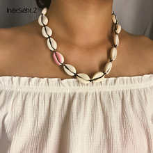 IngeSight.Z Bohemia Natural Shell Choker Necklace Collar Statement Adjustable Asymmetrical Clavicle Chain Women Jewelry