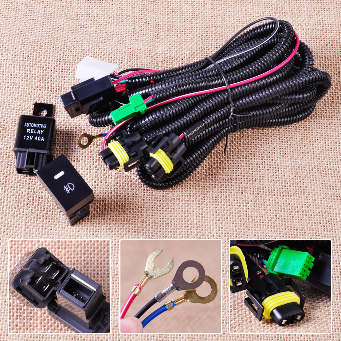 CITALL H11 Fog Light Lamp Wiring Harness Sockets Wire Switch with LED indicators Automotive Relay for citall h11 fog light lamp wiring harness sockets wire switch ford f250 fog light wiring harness at bayanpartner.co