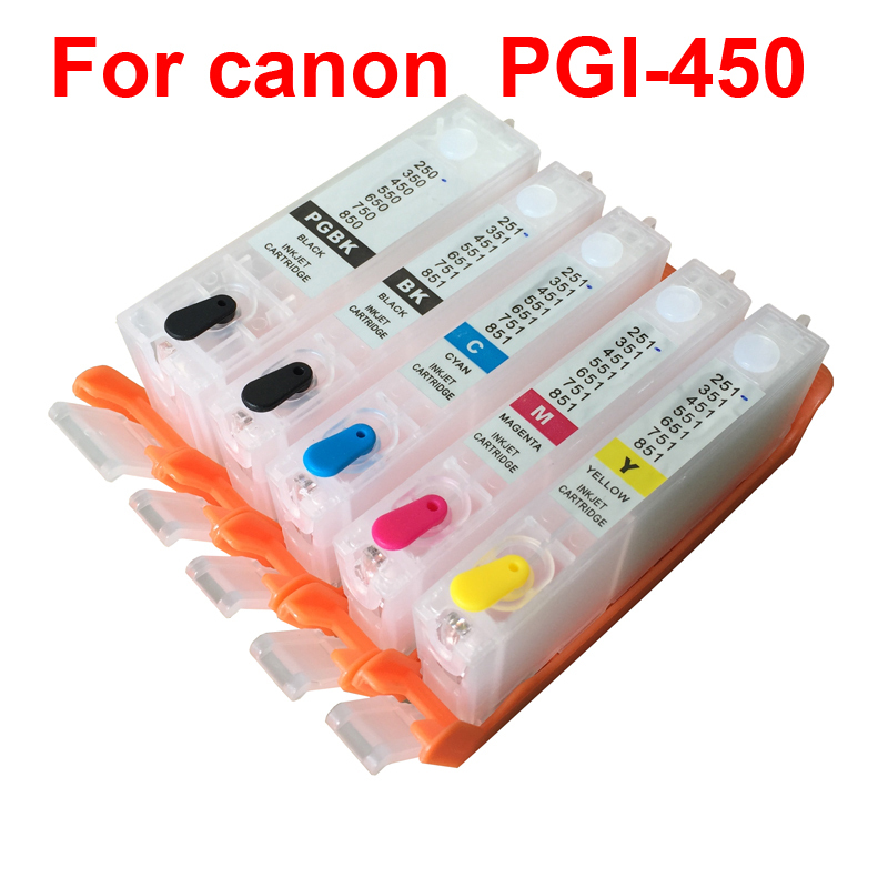 For CANON IP7240 MG5440 MG5540 MG6440 MG6640 MG5640 MX924 MX724 IX6840 printer PGI-450 CLI451 refillable ink cartridges pgi450 цена