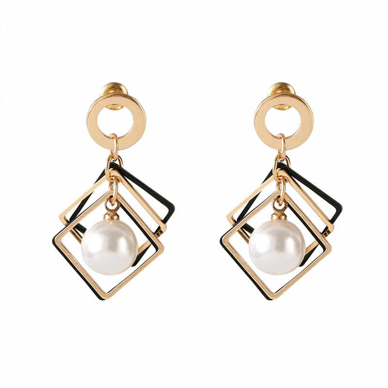 New fashion Brincos simple red, white pearl exquisite earrings for women pierced pentacle round net red earrings