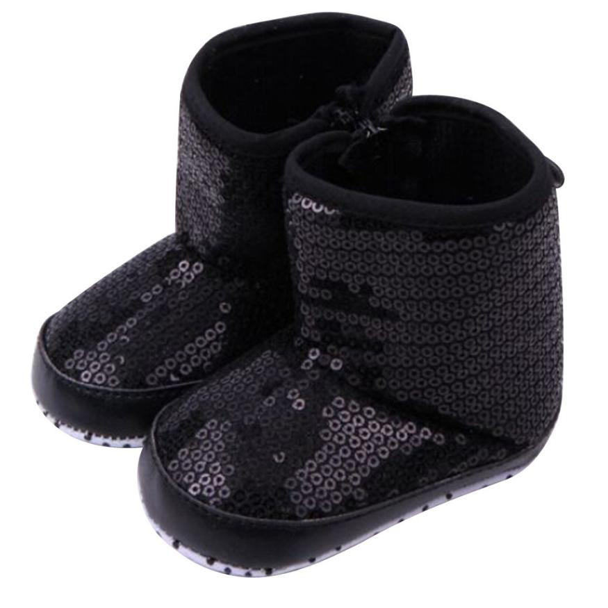 BMF TELOTUNY Fashion Baby Girls Winter Soft non-Slip Bottom Boots Sequins Soft Sole Warm Cotton Shoes Boots Apr18 Drop Ship