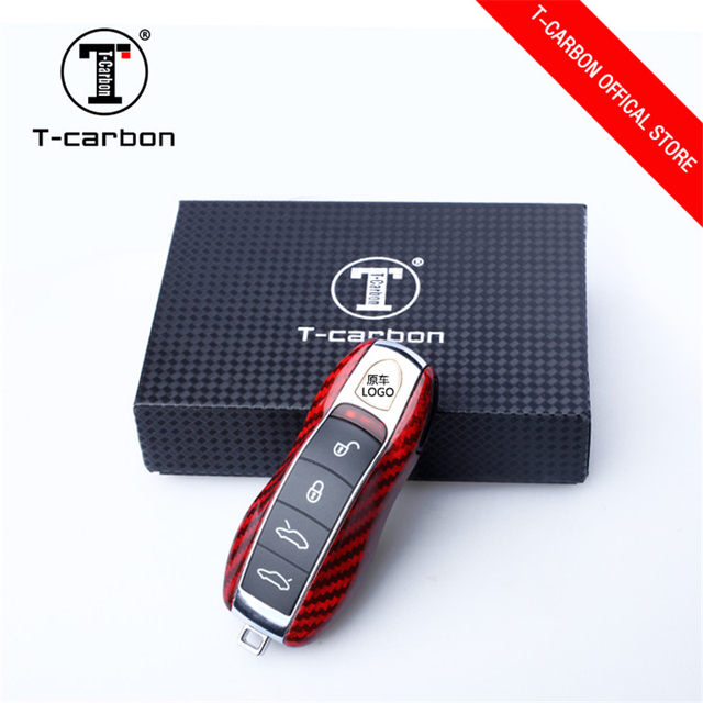 Red Carbon Fiber Car Key Case Protective Shell Styling Bag Box For Porsche Cayenne Macan Cayman