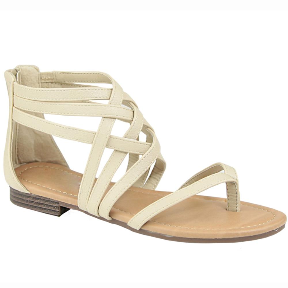 Flat sandals - Id69 Women S Shoes Gladiator Strappy Back Zipper Thong Flat Sandal