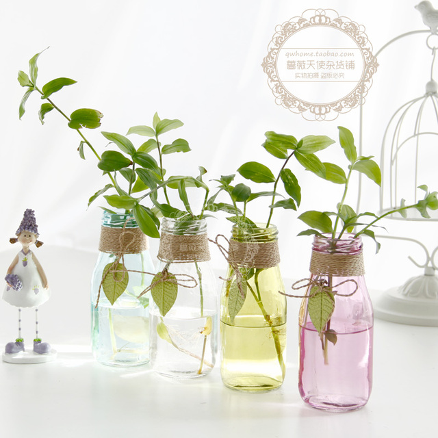 Zakka multicolour glass vases home decoration flower vases tabletop ...