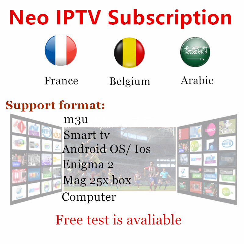 Smart TV box 1000+ Channels Europe Arabic French Belgium IPTV NEO Code Live TV For M3U Mag25x France Belgian Arab Android TV Box