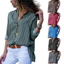 Women striped Blouse 2019 new loose long-sleeved shirt large size V-neck Shirt
